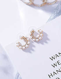 Sweet Champagne Full Pearls Design Simple Earrings