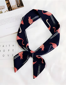 Fashion Navy Ostrich Pattern Decorated Small Scarf