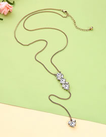 Fashion Gold Color Geometric Shape Diamond Decorated Necklace