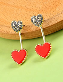 Fashion Red Double Heart Shape Design Earrings