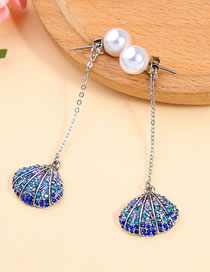 Fashion Silver Color Pearls&shell Decorated Long Earrings
