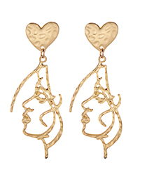 Elegant Gold Color Face Shape Decorated Pure Color Earrings