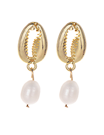 Elegant Gold Color Shell&pearl Decorated Simple Earrings
