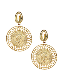 Elegant Gold Color Shell&coins Decorated Simple Earrings