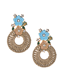 Elegant Khaki Flowers Decorated Hollow Out Earrings