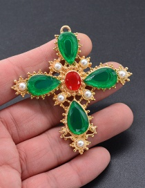 Fashion Green Gemstone Decorated Cross Shape Brooch