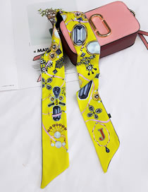 Fashion Yellow Letter J Pattern Decorated Small Scarf