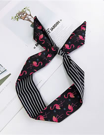 Fashion Black Flamingo Pattern Decorated Small Scarf