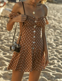 Fashion Coffee Dots Pattern Design Short Sleeves Dress
