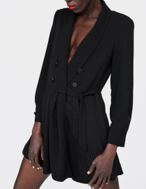 Fashion Black Pure Color Decorated Long Sleeves Jumpsuit