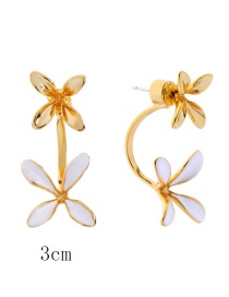 Fashion Big Flower-1 925 Silver Needle Copper Plated Gold Flower Earrings