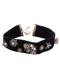 Fashion Black Flower Insect Pearl Choker