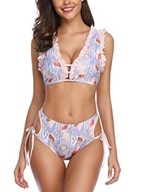 Sexy Multi-color Flowers Pattern Decorated Split Bikini