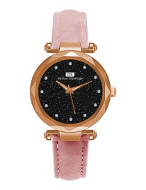 Fashion Pink Diamond Decorated Round Shape Dial Watch