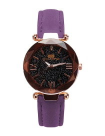Fashion Purple Starry Sky Decorated Pure Color Strap Watch