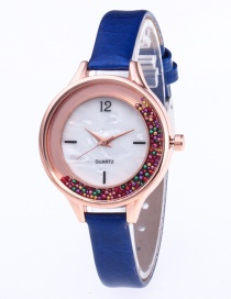 Fashion Sapphire Blue Colored Balls Decorated Leisure Watch