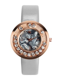 Fashion Gray Diamond Decorated Round Shape Dial Watch