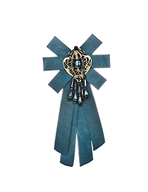 Fashion Blue Diamond Decorated Bowknot Brooch