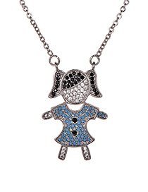 Fashion Silver Color Girl Shape Pendant Decorated Necklace