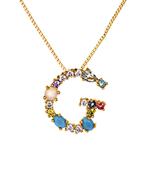 Fashion Multi-color G Shape Design Full Diamond Nekclace
