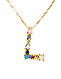 Fashion Multi-color L Shape Design Full Diamond Nekclace