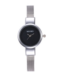Fashion Black Pure Color Decorated Watch