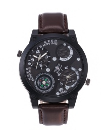 Fashion Brown Pure Color Decorated Waterproof Watch