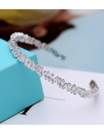 Fashion Silver Color Full Diamond Decorated Opening Bracelet