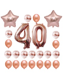 Fashion Rose Gold Star Shape Decorated Ballon Set
