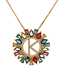 Fashion Multi-color Full Diamond Decorated K Letter Shape Necklace