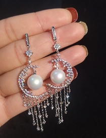 Simple Silver Color Diamond&pearl Decorated Earrings