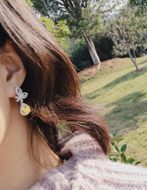 Simple Yellow Water Drop Shape Decorated Earrings