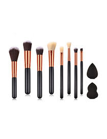 Fashion Black Color Matching Decorated Makeup Brush (8 Pcs )