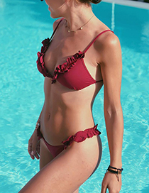 Sexy Claret Red Pure Color Decorated Bikini