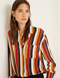 Fashion Multi-color Stripe Pattern Decorated Shirt