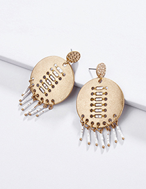 Fashion White Alloy Geometric Hollow Rice Beads Woven Earrings