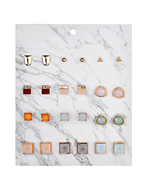 Fashion Gold Alloy Geometric Resin Crystal Tooth Stud Set