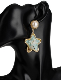 Fashion Blue Resin Pentagram Imitation Pearl Earrings