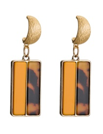 Fashion Brown Semi-solid Color Semi-marble Texture Acetate Plate Earrings