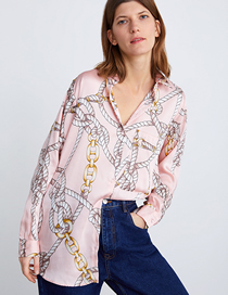 Fashion Pink Chain Chain Printed Shirt