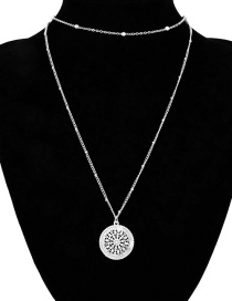 Fashion Silver Openwork Flower Geometric Pendant Double Necklace