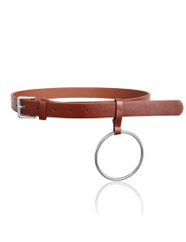 Fashion Dark Brown Leather Metal Round Belt