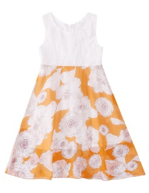 Children's Section - Yellow Parent-child Sleeveless Print Dress