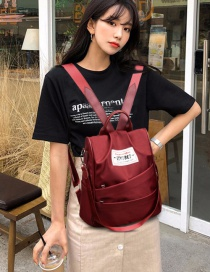 Fashion Red Wine Oxford Cloth Backpack