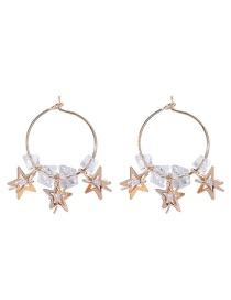 Fashion B Pentagram Circle Star Pearl Crystal Earrings
