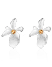 Fashion Silver Alloy Flower Earrings
