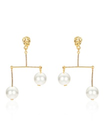 Fashion Gold Alloy Asymmetric Pearl Earrings