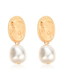 Fashion Gold Alloy Relief Portrait Pearl Pendant Earrings