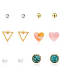 Fashion Gold Triangle Love Diamond Stud Earrings 6 Pairs