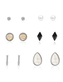 Fashion Silver Geometric Diamond Stud Earrings 6 Pairs
